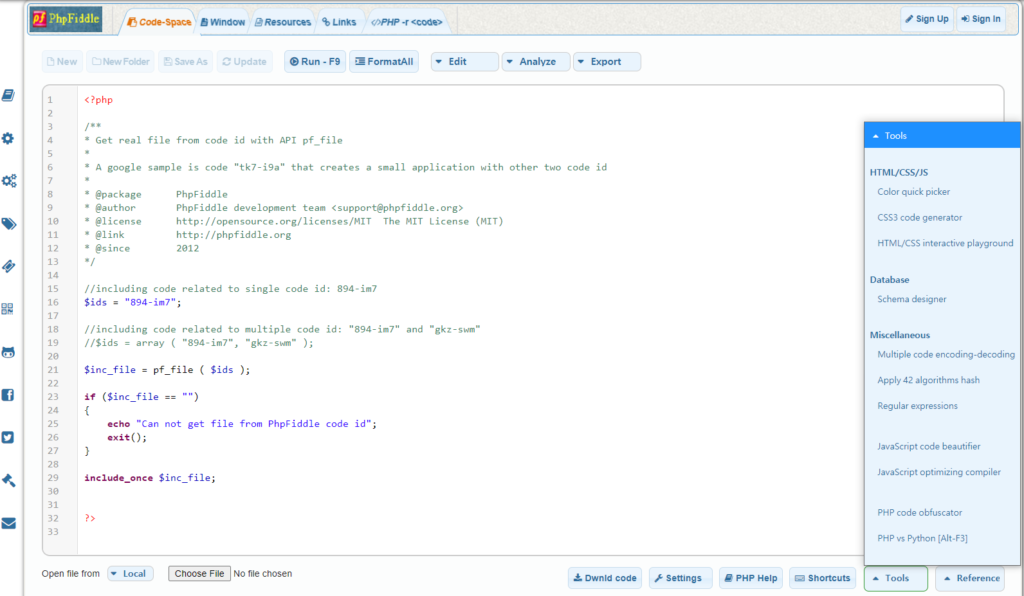 phpfiddle oline php editor